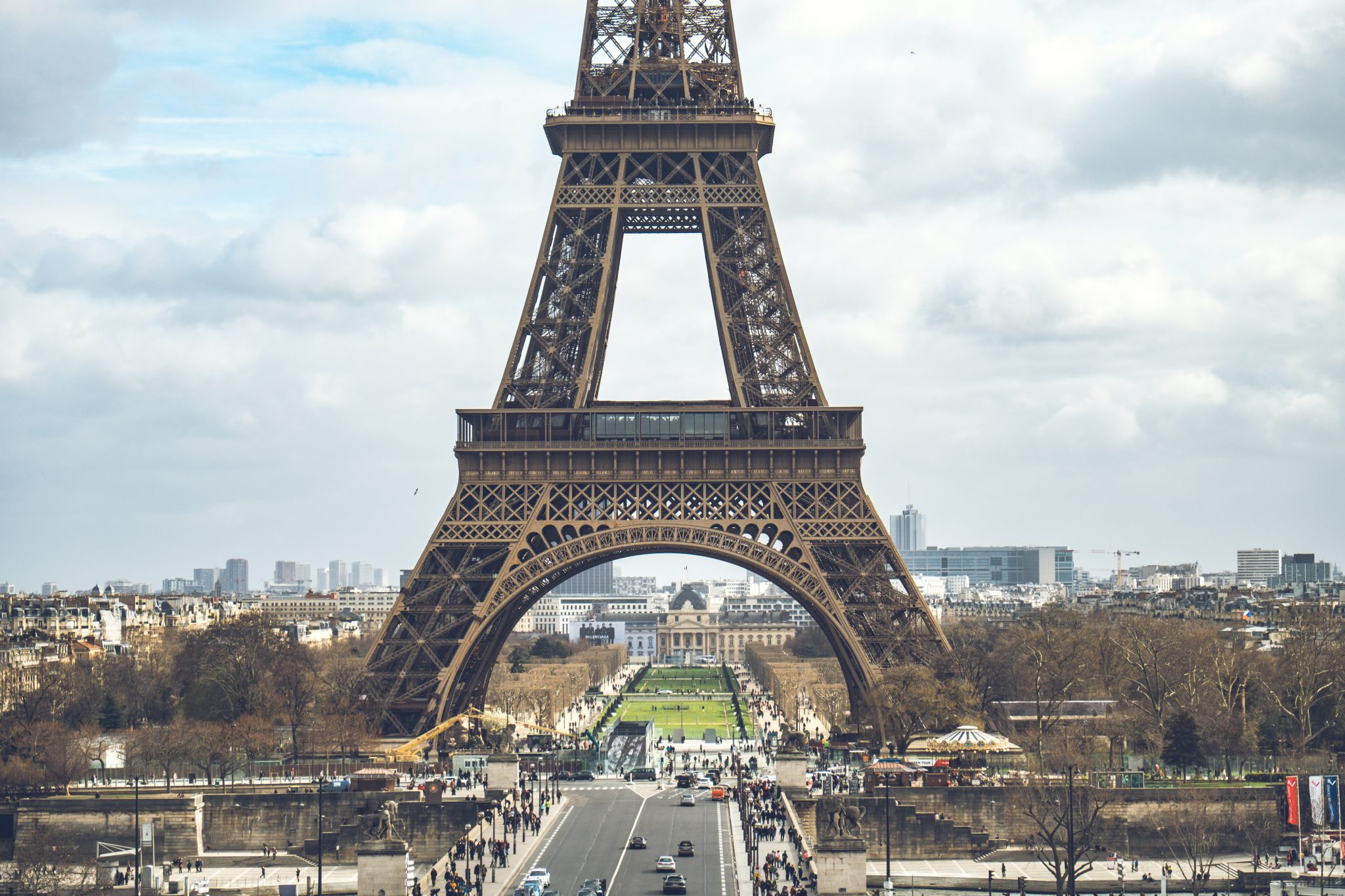 Closeup on the Eiffel Tower and the Champs de Mars shot from the trocadero photo by Jo Kassis