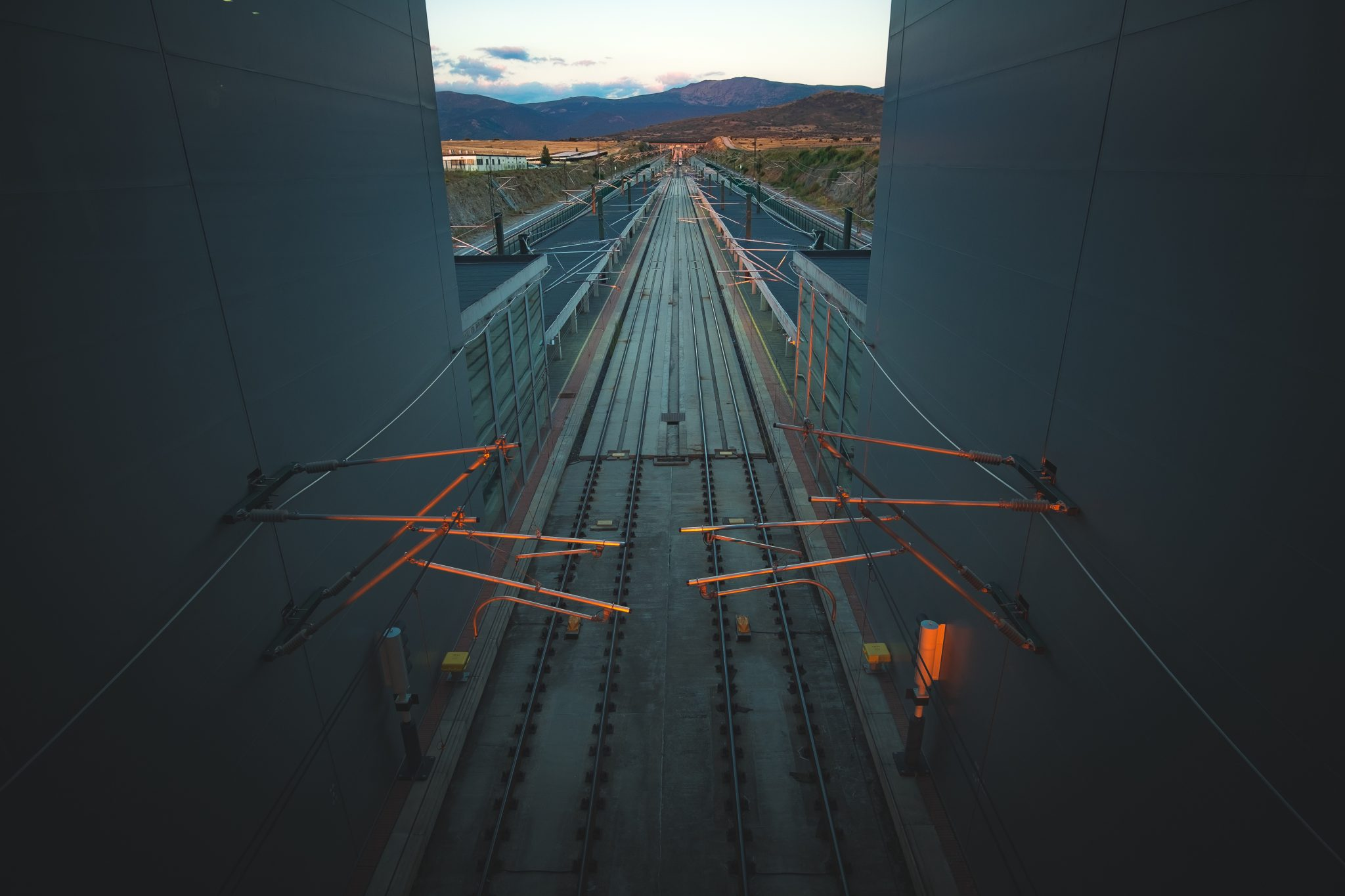 View of the rails in the the train station of Segovia shot by Jo Kassis
