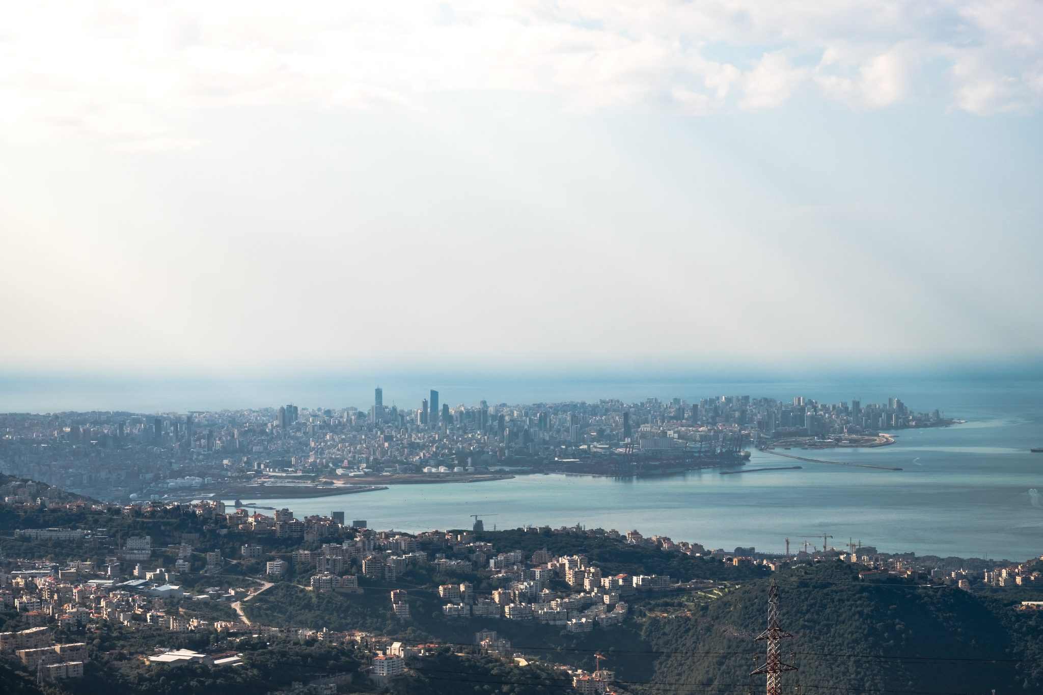 Panoramic view of the beirut peninsula photo by Jo Kassis