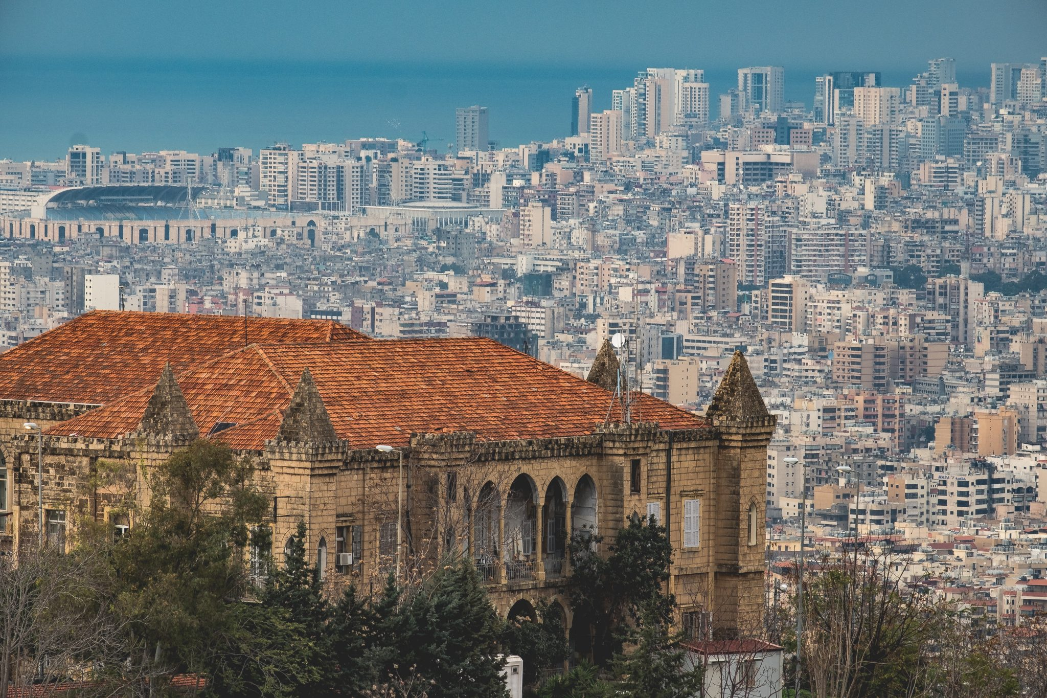 Panoramic view of the historical serail of Baabda with beirut in the background photo by Jo Kassis