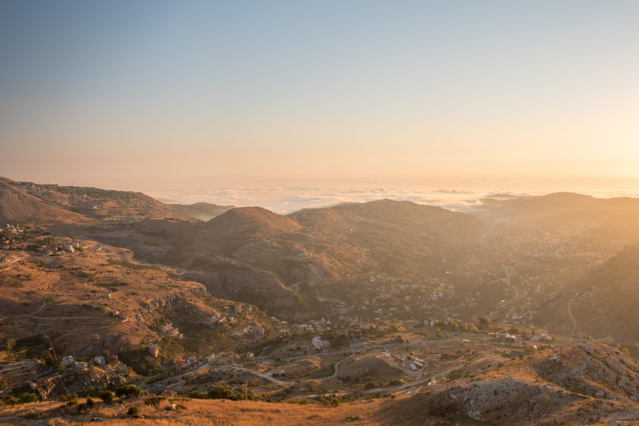 Panoramic view of the village of Faraya Hrajel in the lebanese mountain at sunset photo by Jo Kassis