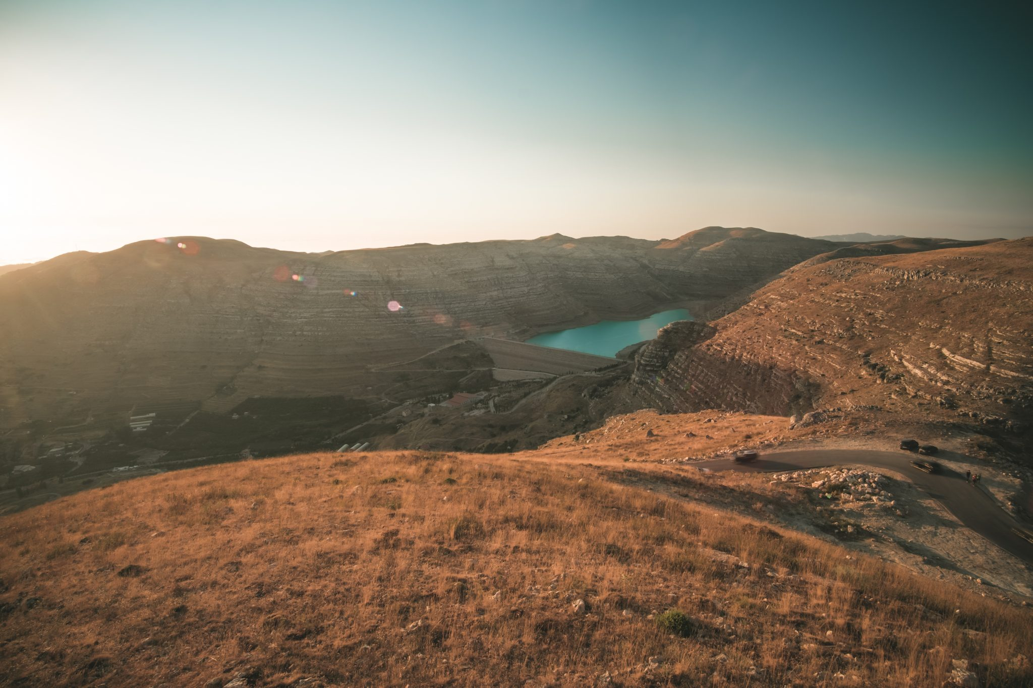 Panoramic view of the Chabrouh Dam in the lebanese mountain at sunset photo by Jo Kassis