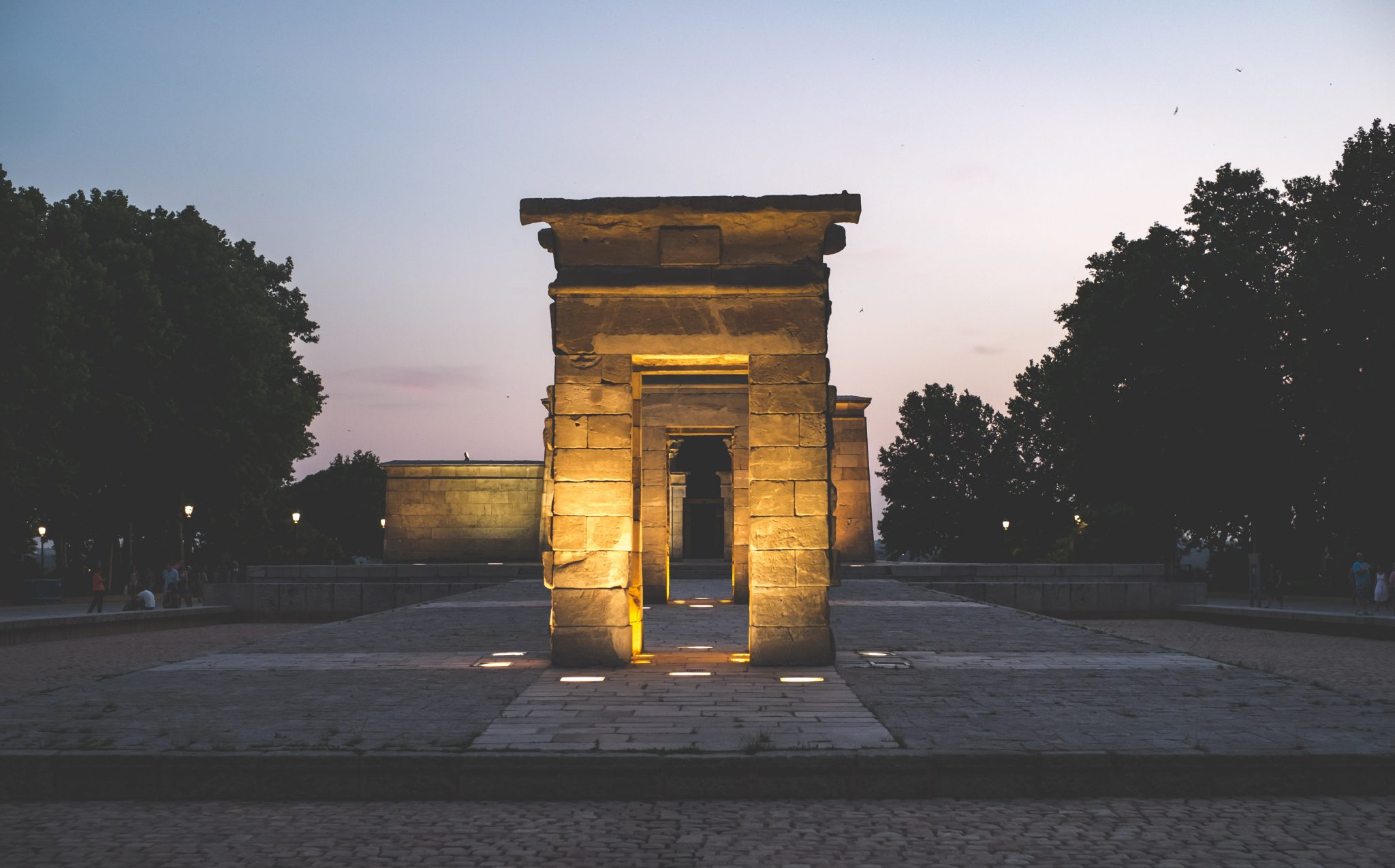 Temple of Debod Madrid at sunset photo by Jo Kassis