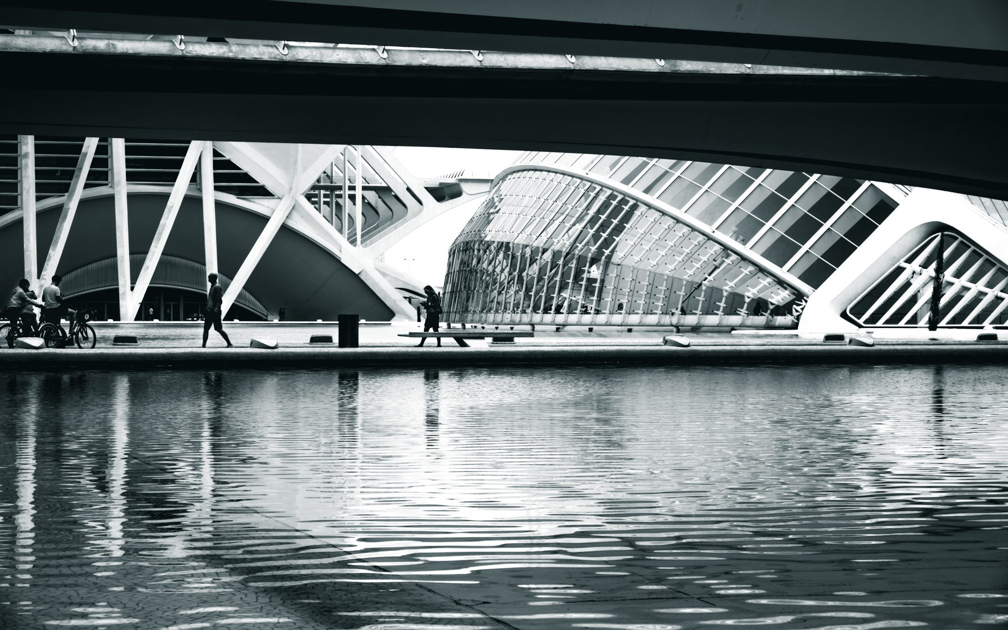 Body of water at the architectural complex The City of Arts and Sciences in the city of Valencia photo by Jo Kassis