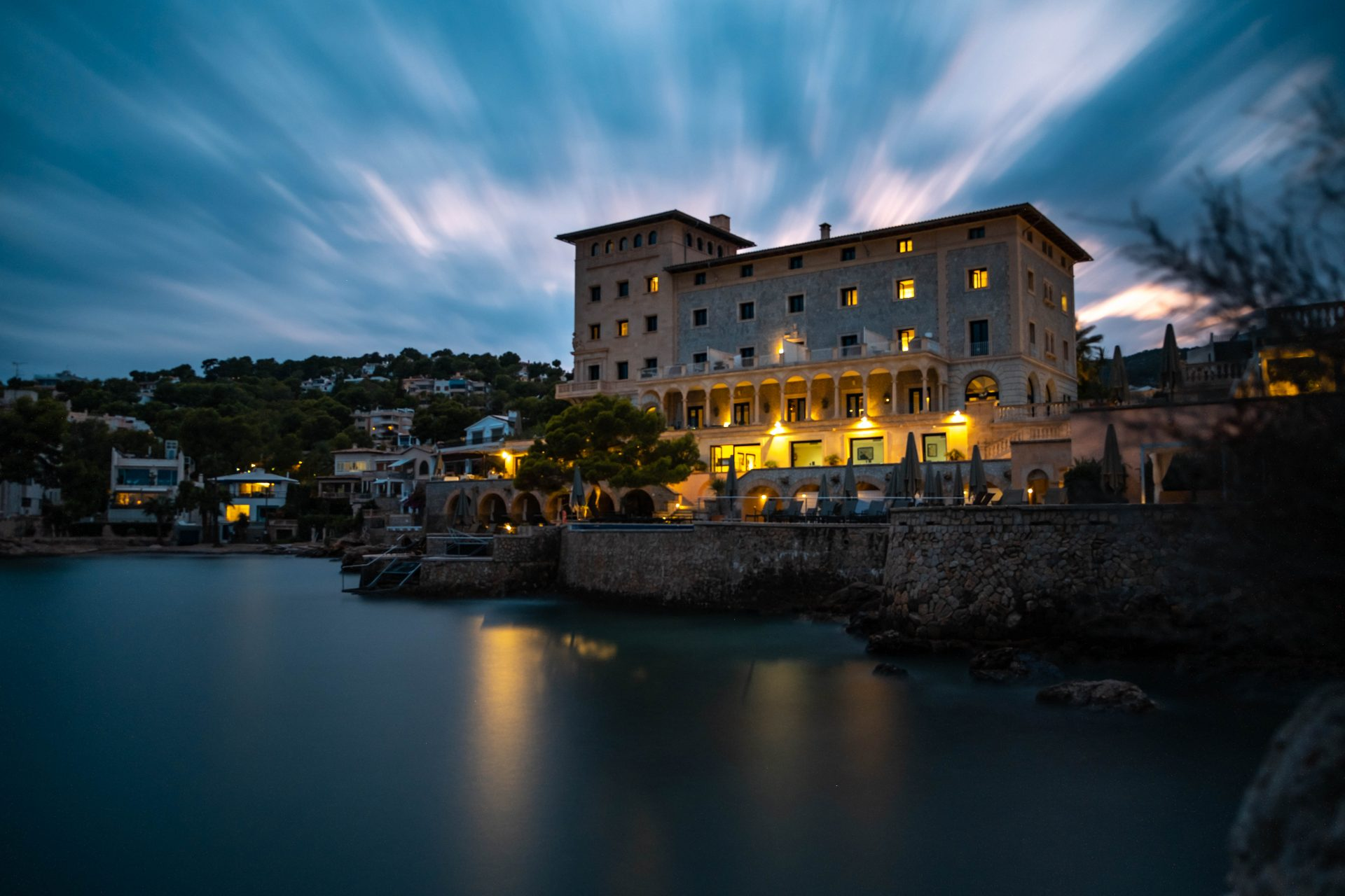 Long exposure shot of the Hospes Hotel Maricel Mallorca at night photo by Jo Kassis