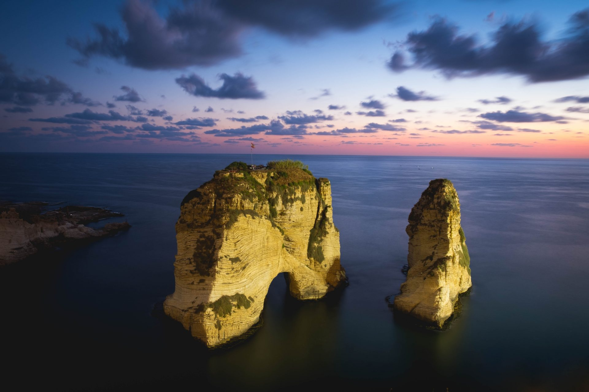 The pigeon rock at sunset in Raouche Beirut photo by Jo Kassis