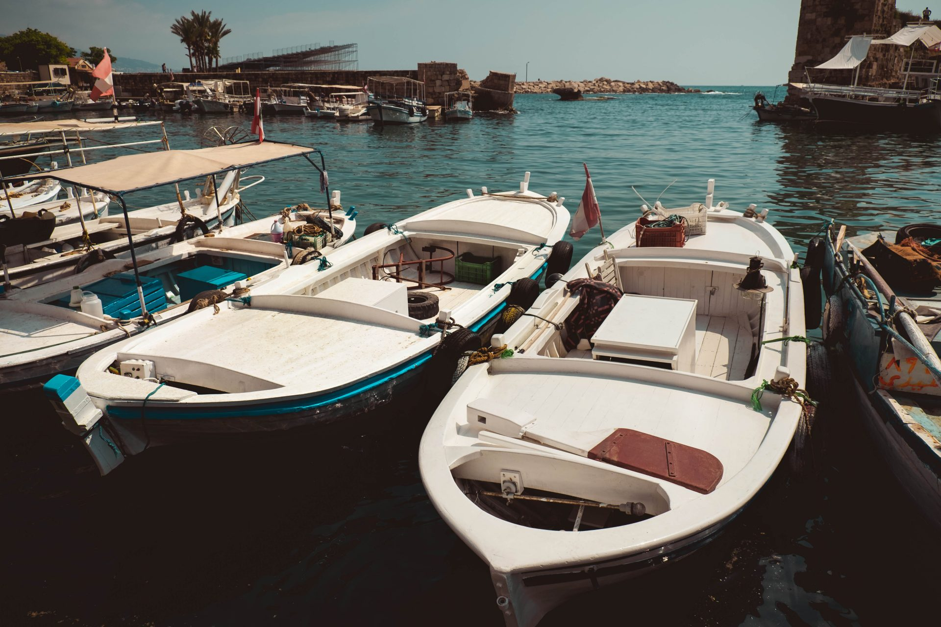 Small dinghy in Byblos harbor photo by Jo Kassis