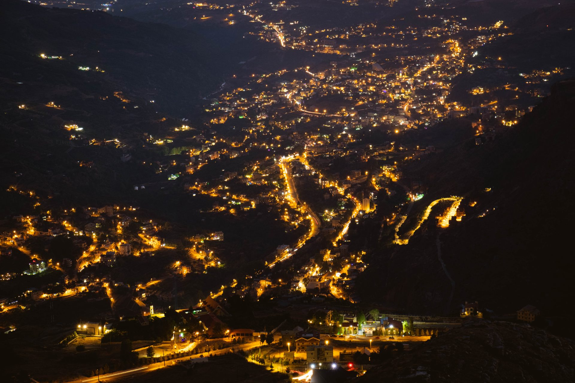 Panoramic view of the village of Faraya Hrajel in the lebanese mountain at night photo by Jo Kassis