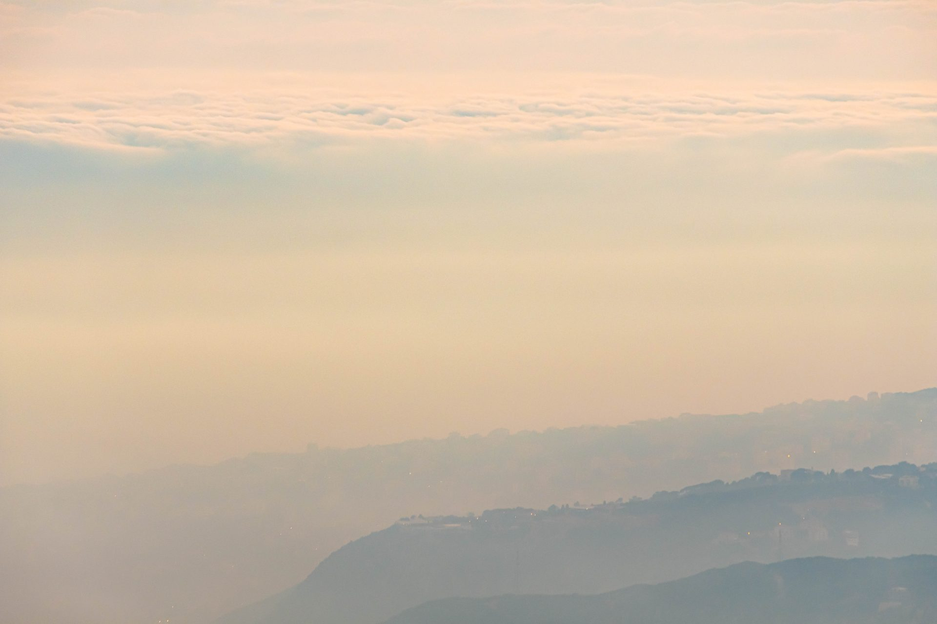 Panoramic view of lebanese mountains above the cloud photo by Jo Kassis