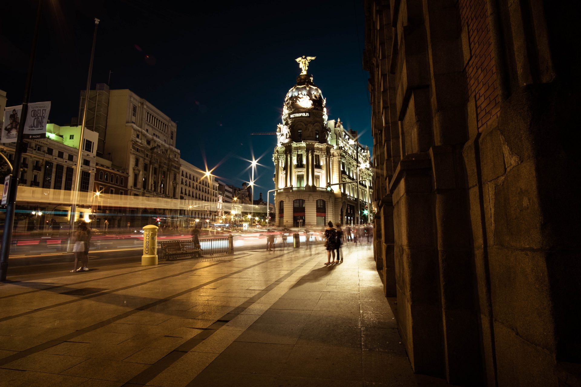 Madrid Metropolis Building Gran Via at night long exposure shot photo by Jo Kassis