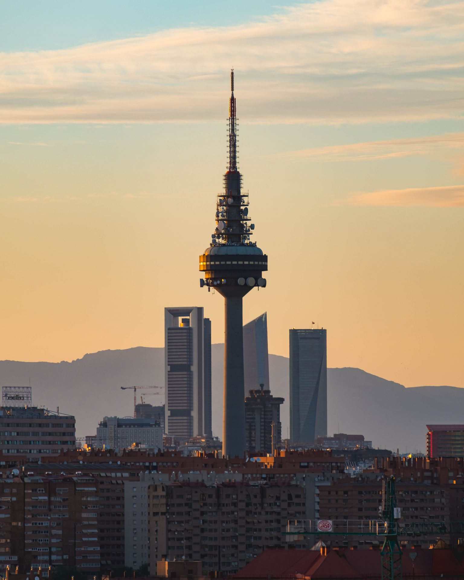 Panoramic view of Madrid Torrespaña at sunset photo by Jo Kassis