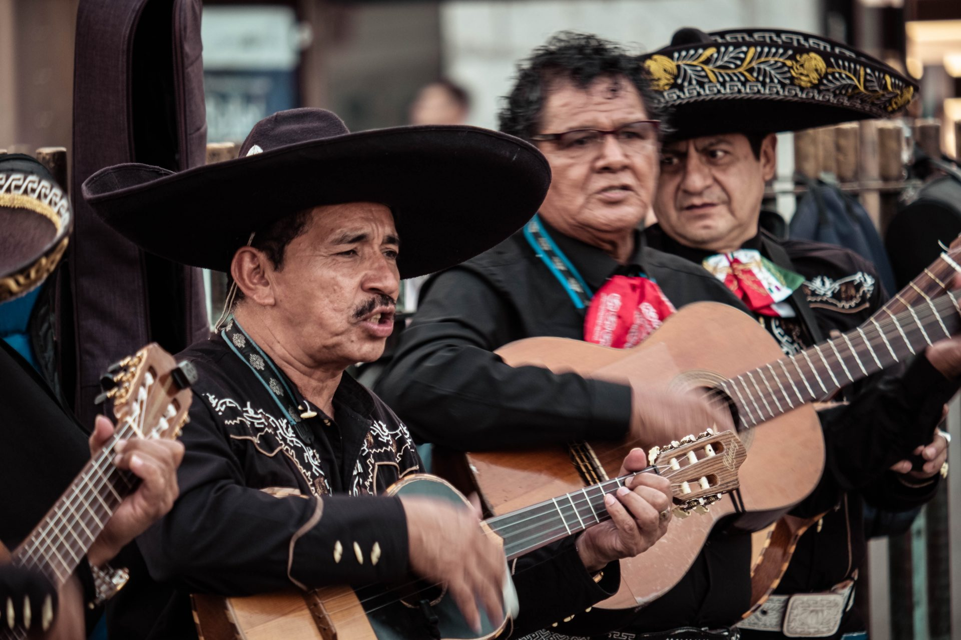 Band dressed in a mexican outfit playing music in the streets of Madrid photo by Jo Kassis