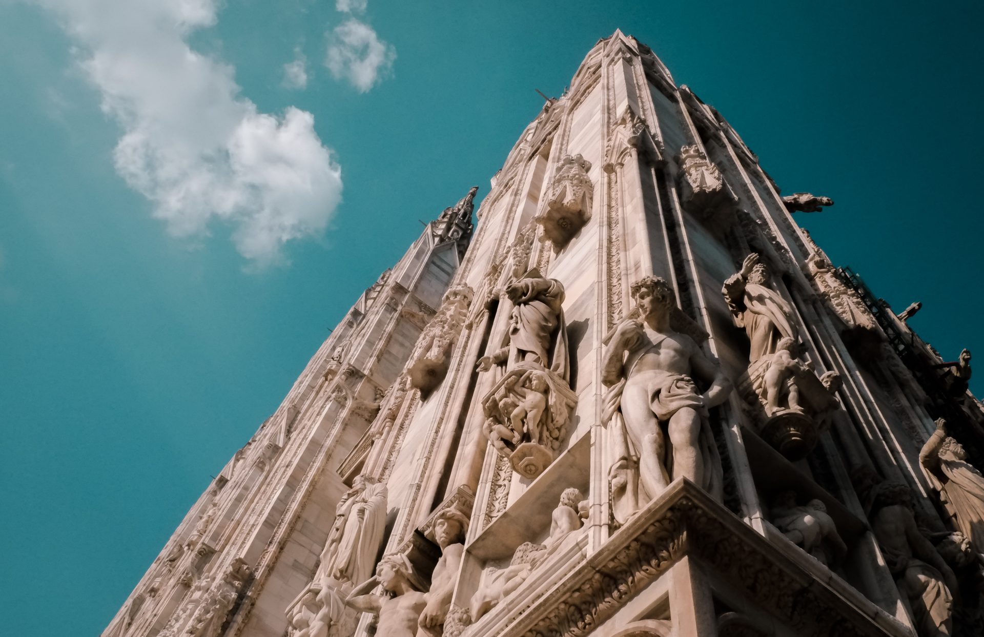 The amazing facade of the Duomo Cathedral statues italy milan photo by Jo Kassis