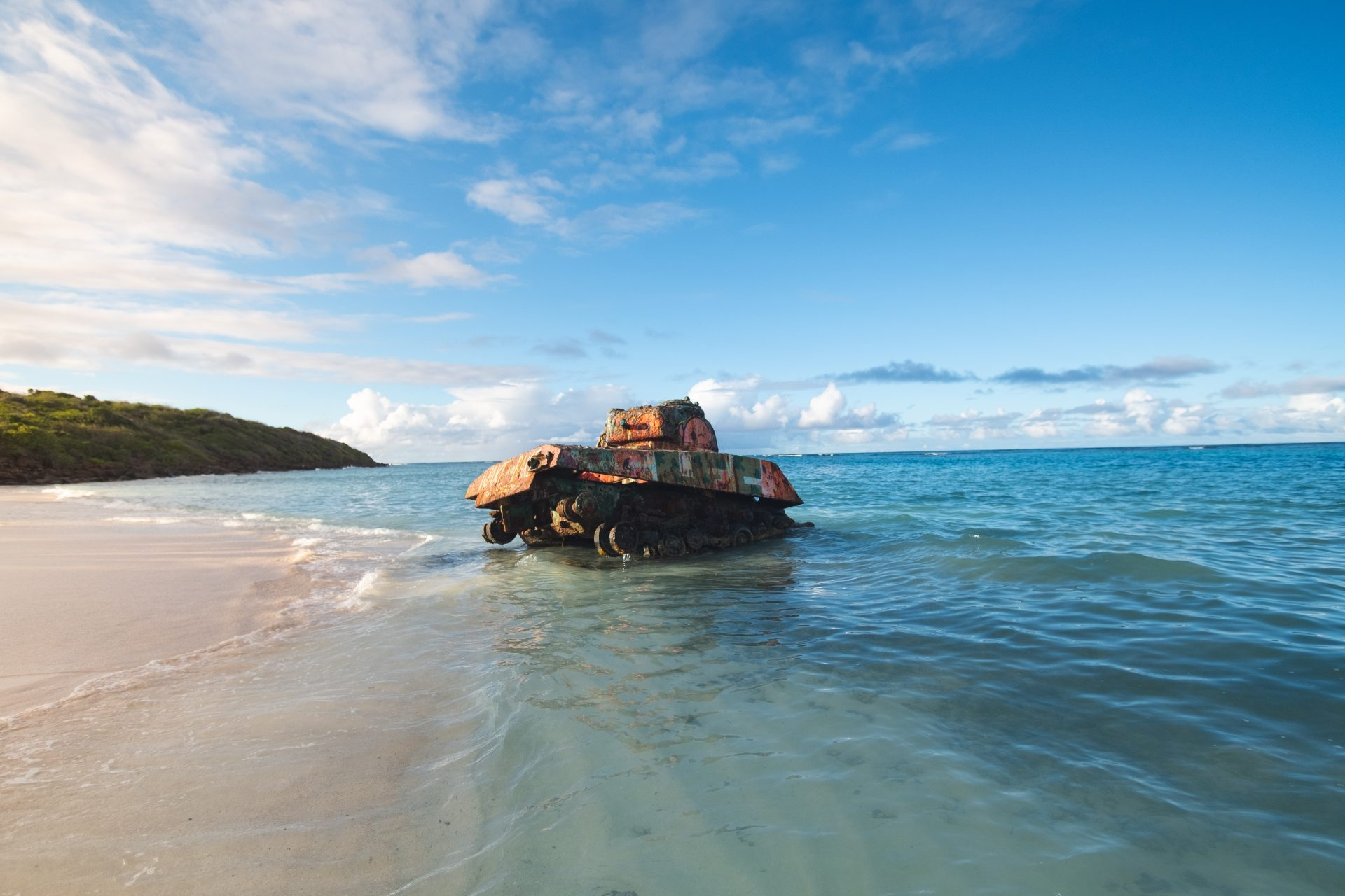 View of an abandoned US military tank flamenco beach in Culebra island Puerto Rico photo by Jo Kassis